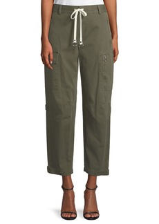 T by Alexander Wang Garment Washed Twill Wide-Leg Cargo Ankle Pants