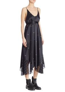T by Alexander Wang Grommet-Print Silk Slip Dress