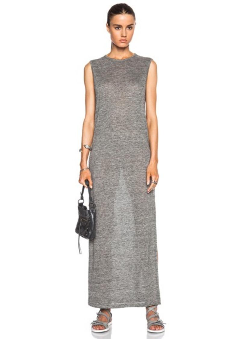T by Alexander Wang Heather Linen Jersey Long Muscle Dress