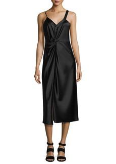 T by Alexander Wang Heavy Draped Satin Sleeveless Knot-Front Dress