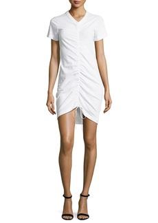 T by Alexander Wang High-Twist Gathered Front Short-Sleeve Cotton Dress