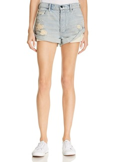 T by Alexander Wang Hike Cuffed Denim Shorts in Vintage Bleach