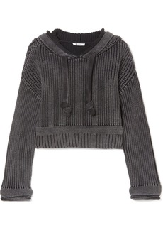 T by Alexander Wang Hooded Cropped Cotton Sweater