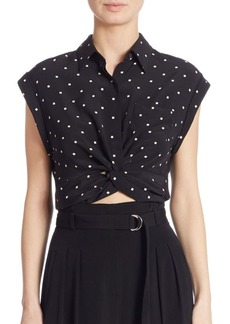 T by Alexander Wang Knotted Cropped Silk Shirt