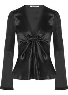 T by Alexander Wang Knotted hammered silk-satin blouse