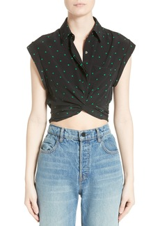 T by Alexander Wang Knotted Print Silk Crop Top