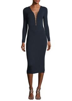 T by Alexander Wang Lace-Up Long Sleeve Midi Dress
