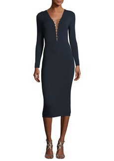 T by Alexander Wang Lace-Up Long Sleeve Midi Dress