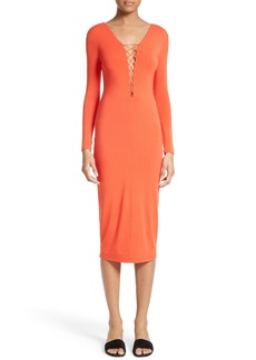 T by Alexander Wang Lace-Up Midi Dress