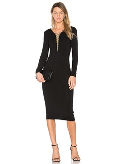 T by Alexander Wang Lace Up Midi Dress in Black. - size S (also in L,XS)