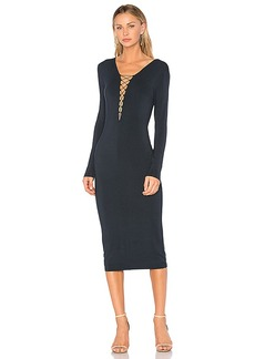 T by Alexander Wang Lace Up Midi Dress in Navy. - size L (also in M,S,XS)