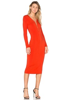 T by Alexander Wang Lace Up Midi Dress in Red. - size M (also in L,S,XS)