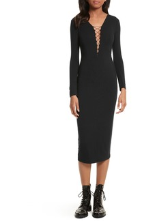 T by Alexander Wang Lace-Up Stretch Jersey Midi Dress