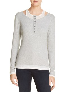 T by Alexander Wang Layered-Look Henley Top
