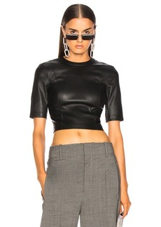 T by Alexander Wang Leather Short Sleeve Top