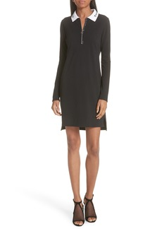 T by Alexander Wang Logo Collar Piqué Polo Dress