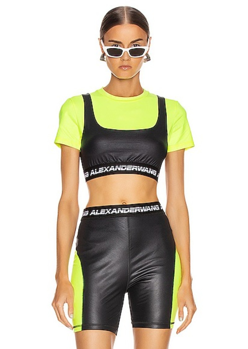 T by Alexander Wang Logo Elastic Short Sleeve Top