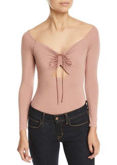 T by Alexander Wang Long-Sleeve Bodysuit with Cutout and Ties