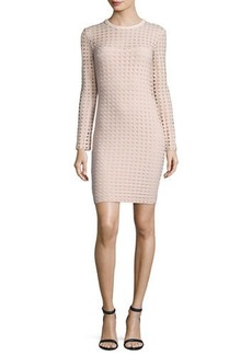 T by Alexander Wang Long-Sleeve Jacquard Eyelet Mini Dress