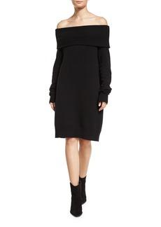 T by Alexander Wang Long-Sleeve Knit Off-the-Shoulder Shift Dress