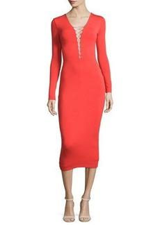 T by Alexander Wang Long-Sleeve Laced Ponte Midi Dress