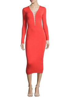 T by Alexander Wang Long-Sleeve Laced Ponte Midi Dress