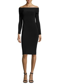 T by Alexander Wang Long-Sleeve Off-the-Shoulder Fitted Ponte Dress