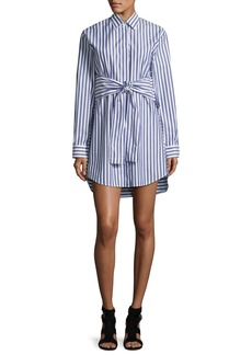 T by Alexander Wang Long-Sleeve Tie Front Collared Dress