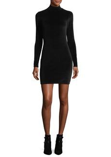 T by Alexander Wang Long-Sleeve Turtleneck Velour Mini Dress w/ Back Cutout
