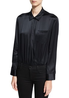 T by Alexander Wang Long-Sleeve Wrap Shirt Bodysuit W/ Threadwork