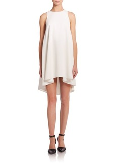 T by Alexander Wang Matte Crepe Leather-Trim A-Line Dress
