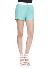 T by Alexander Wang Matte Leather Shorts with Drawstring