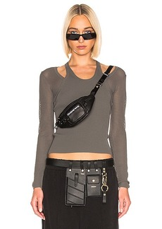 T by Alexander Wang Mesh Layering Long Sleeve Top