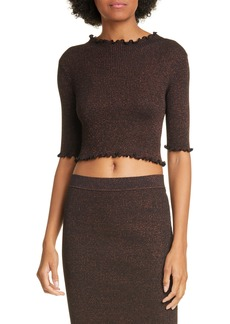 T by Alexander Wang Metallic Rib Knit Crop Top