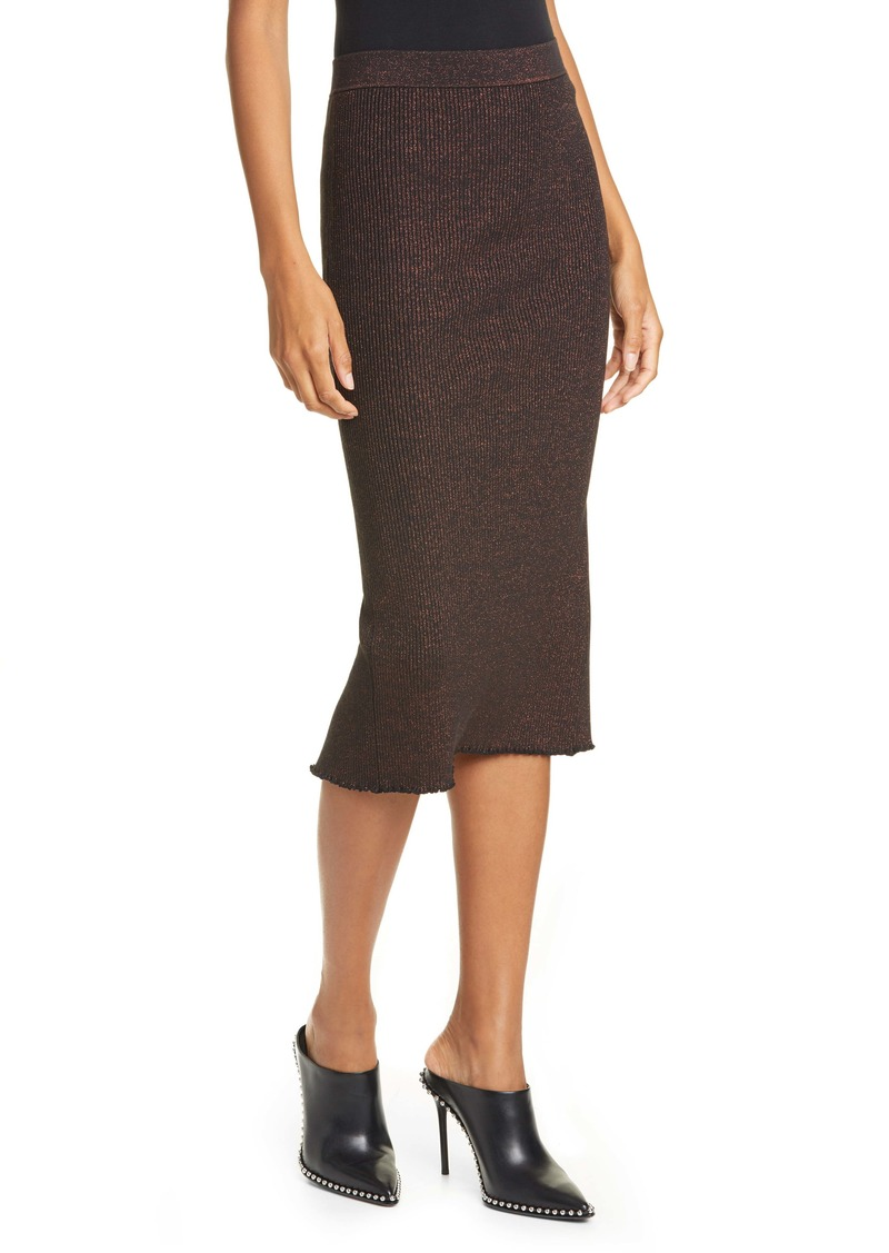 T by Alexander Wang Metallic Rib Knit Pencil Skirt