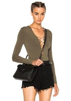 T by Alexander Wang Micro Modal Spandex Lace Up Long Sleeve Bodysuit