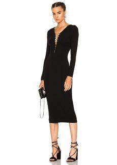 T by Alexander Wang Micro Modal Spandex Lace Up Midi Long Sleeve Dress
