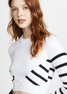 T by Alexander Wang Multi Direction Striped Cropped Sweater