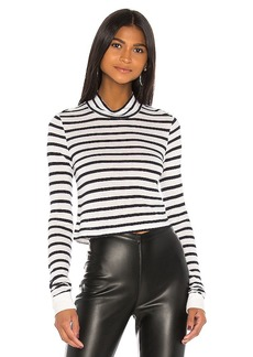 T by Alexander Wang New Striped Slub Crop Mock Neck Top