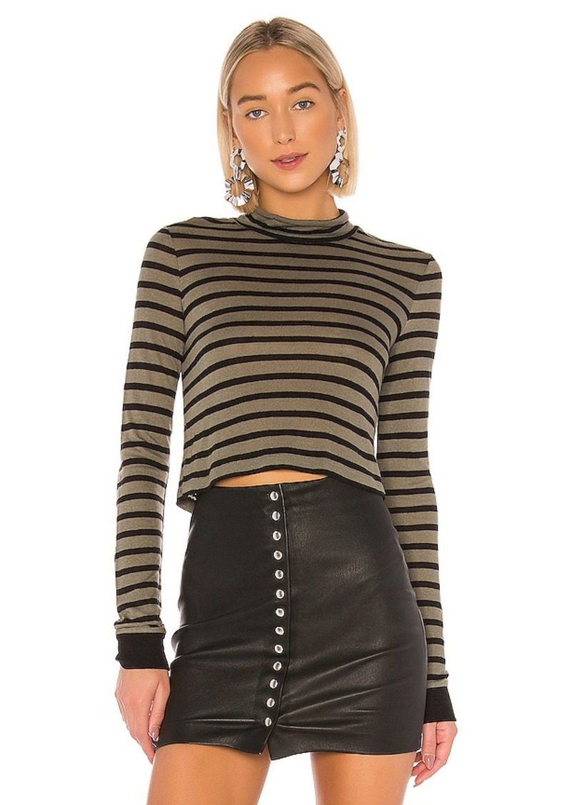 T by Alexander Wang New Striped Slub Crop Top