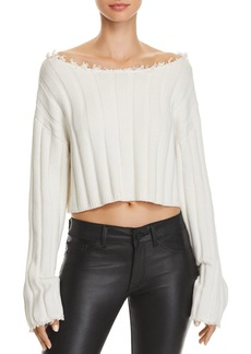 T by Alexander Wang alexanderwang.t Off-the-Shoulder Cropped Sweater