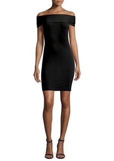 T by Alexander Wang Off-the-Shoulder Fitted Ponte Dress