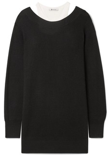 T by Alexander Wang Off-the-shoulder layered ribbed merino wool-blend and cotton mini dress
