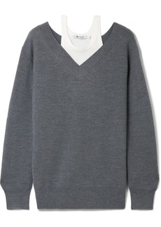 T by Alexander Wang Off-the-shoulder layered ribbed merino wool-blend and cotton sweater