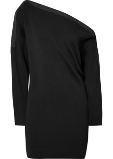 T by Alexander Wang Off-the-shoulder Ribbed Merino Wool-blend Mini Dress