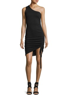 T by Alexander Wang One-Shoulder Ruched Wool Cocktail Mini Dress