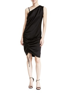 T by Alexander Wang One-Sleeve Asymmetric Ruched Dress