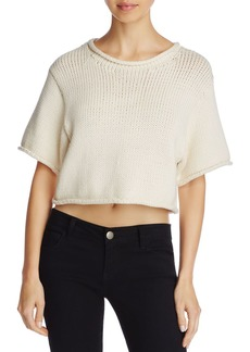 T by Alexander Wang Open-Stitch Cropped Sweater