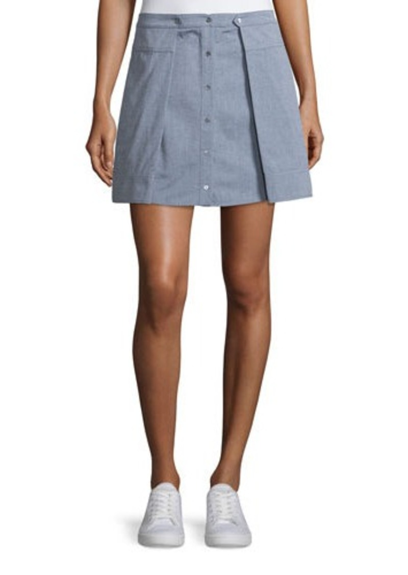 T by Alexander Wang Oxford Cotton Pleated Mini Skirt