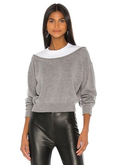 T by Alexander Wang Peelaway Bi Layer Cropped Pullover